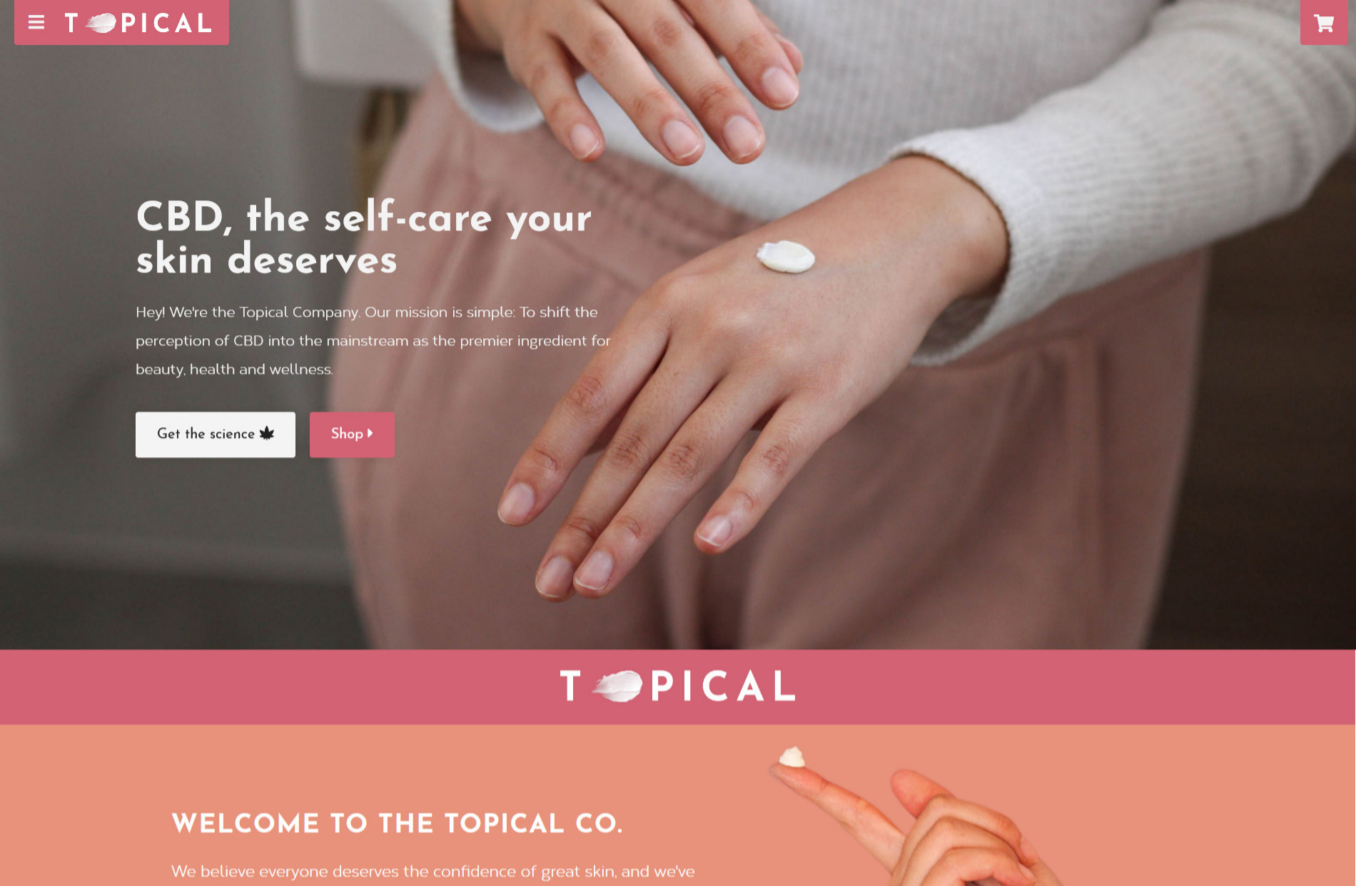 Screenshot of the homepage of The Topical Co showing a person applying lotion.